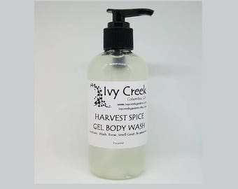 Harvest Spice Body Wash, Fall Gel Body Wash, Natural Soap, Fall Soap, Pumpkin, Holistic, Natural Body Wash, Gifts for Her, Gifts for Mom