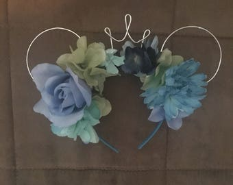 Cool colors mouse ears flowered headband with crown