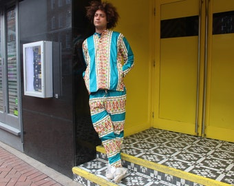 Kente Suit Mens African Print Suit African Shirt Wax Print Trousers African Clothing Mens Two Piece Festival Suit Festival Clothing Kente