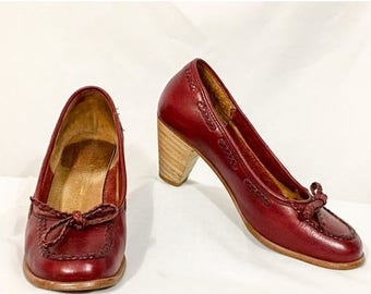 Back to School Sale Vintage Burgundy Leather Pumps, Red Leather Loafer Style, Stacked Heels