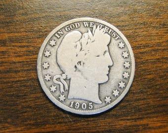 1905s Barber Half Dollar - Nice Old Coin!