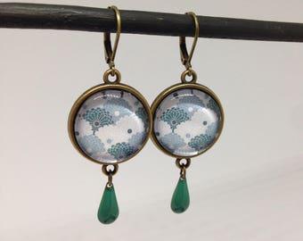 Earrings dangling cabochons - enamel sequin - Japanese pattern