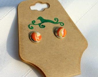 Orange dreamsicle marbled stud earrings