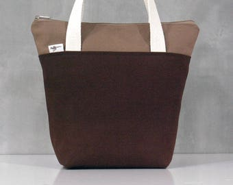 10% OFF [ Orig. 19.99 ]  Brown Lunch bag, Waterproof tote, Canvas Lunch bag, Reusable Lunch bag, Handmade bag, Tote, Gift
