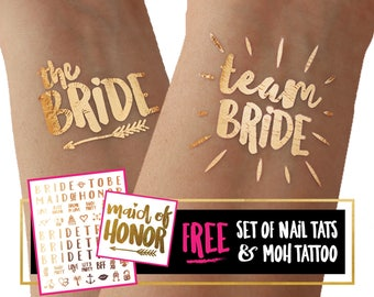 Team Bride bachelorette tattoos / temporary tattoo tato tatoo / summer wedding / beach party / reno party