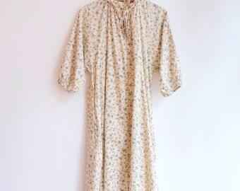 Vintage floral hippie bohemian summer beach cotton dress S