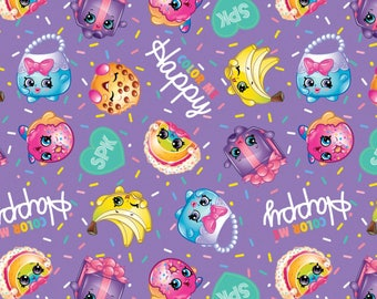 Moose Shopkins Color Me Happy Cotton Fabric from Springs Creative licensed, woven cotton, purple, logo, characters, fabric, kids, toss