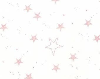 Pink Lucky Stars on White by Sarah Jane for Michael Miller FD7194-PNK lucky fabric magic! quilting cotton flannel
