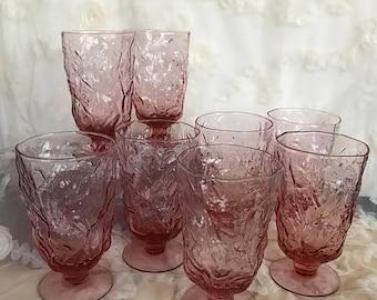SALE Vintage Seneca Driftwood Dark Pink Water Goblets Morgantown Pedestal Glasses / Barware Glasses / Mid Century Glassware