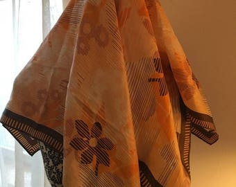 """50% OFF SALE Vintage Robinson Golluber Silk Scarf in Brown, Orange, Pink and White Design 26"""" by 26"""""""
