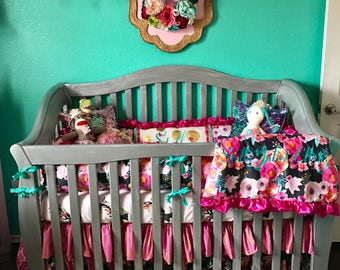 Custom Crib Bedding-floral boho