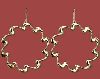 Drop  Earrings Circle Ribbon Reversible