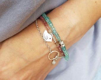 Set of three Bracelets with tourmaline aquamarine freshwater pearl Sterling Silver Bird Summer Bracelet Colorful bracelet