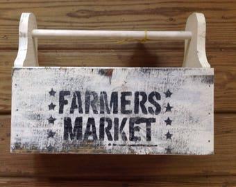 Farmers Market wooden Tote