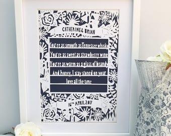 Framed Wedding papercut, Unique wedding gift, first dance gift, wedding gift, wedding song gift, wedding song frame