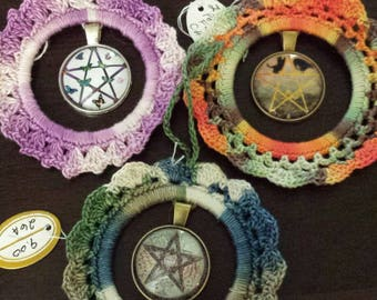 Crocheted  3  AnyTime Ornaments with pentacle pendants  inventory clearance