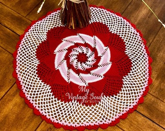 Valentine's Day Decor - Pinwheel Doily - Multicolored Crochet Doily - Country Decor - Pineapple Doily -  Rustic Decor - Housewarming Gift