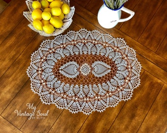 Gray Oval Doily - Pineapple Crochet Doily - Table Centerpiece - Farmhouse Decor - Wedding Gift - Crochet Lace Doily - Country Home Decor