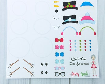 Create Your Own Snowman Sticker Sampler - Christmas stickers - Winter stickers