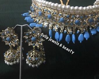 Triditional indian / Pakistani Jewellery Necklace Bridal Hyderabadi Choker Jhumka gold plated
