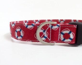 Life Ring Dog Collar   Red Dog Collar   Boy Dog Collar   Nautical Dog Collar   Male Dog Collar   Puppy Collar   Water dog collar