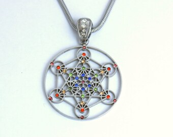 Silver Metatron Pendant with Multi-colored Gemstones SMETP-GEM-01