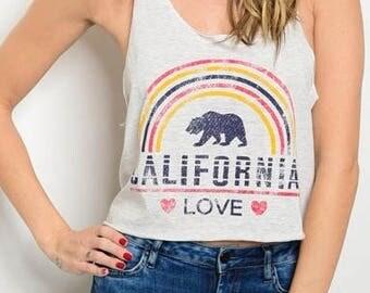 Cali Summer California San Diego Heart Love Retro Vtg Beach Vacation 70's 90's Tee Shirt Top Vacation Brunch Rainbow Crop Workout Lounge