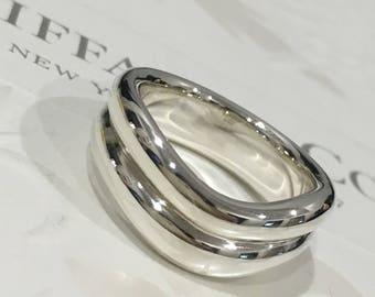 Excellent Authentic Tiffany & Co. Elsa Peretti Doppio Double Curved Silver Ring Silver #7