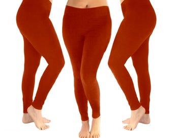 Rust leggings, dark orange leggings, yoga leggings, women's leggings, orange leggings, leggings, cotton leggings, fall leggings