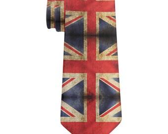 British Flag Union Jack Grunge Distressed All Over Neck Tie