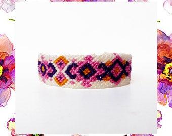 Woven Friendship Bracelet Vintage Ornaments ethnic native tribal indian aztec mayan women diamonds threads skinny thin - Q'enqo Bracelets