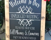 DECAL, Unplugged Wedding Decal, Unplugged Ceremony Decal, No Cameras Decal, No Cell Phone Decal, Unplugged Sign Decal, DECAL ONLY