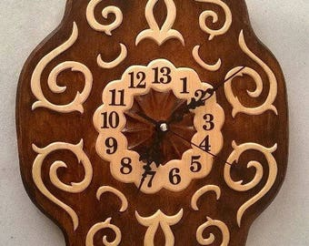 13th hour clock, 13th Hour Wall Clock, Labyrinth clock,  Hand made clock, Wood carving clock, Wooden clock,  Clock carving Wall