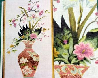 Elsa Williams Floral Vase Magnolia Vintage Crewel Embroidery Kit 00249