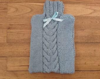 Warmer water bottle in sky blue knit