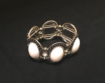 White stone silver bracelet