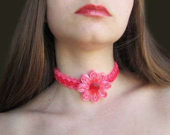SALE Red Choker, Ribbon Collar Choker, Cute Submissive Collar, Red FlowerChoker,  BDSM Collar