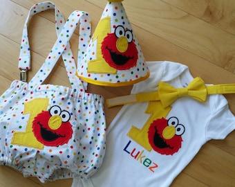 Sesame Street inspired; Elmo; Birthday outfit; Boy's Birthday; Cake Smash