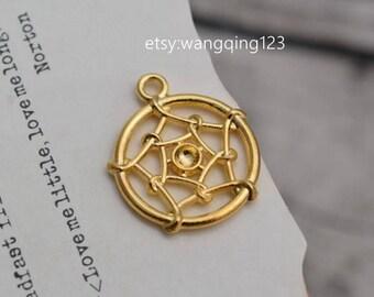 20 dreamcatcher charms charm dream catcher pendant  pendants gold tone  (DAI)