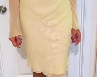 ALLAN CHIU Sheer YELLOW Silk Dress-40