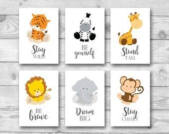 Set of 6 Jungle Animal Nursery Prints, Safari Nursery Wall Art, Jungle Safari Nursery Decor, Nursery Prints, Lion Tiger Zebra Monkey Giraffe