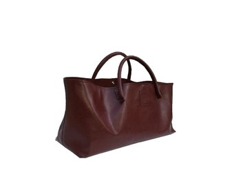 Big leather bag bag for big purchase failed shopping bag used look handmade