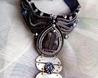 New zipper necklace, new colection unique, necklace-choker,handmade necklace