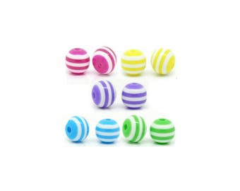 Set of 20 striped multicolor B18796 8 mm round beads