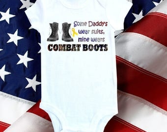 Military Baby onesie,  one-piece and bodysuit shirt - My Daddy wears combat boots
