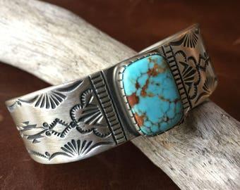 Natural #8 Turquoise Stamped Sterling Silver Bracelet Signed Lorenzo Juan
