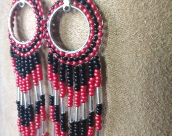 Seed Bead Earrings ~ Red & Black Glass Czech with Silver Lined Glass Tubes