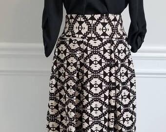 Black and Tan Box Pleat Skirt