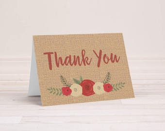 Rustic Burlap Floral Thank You Notes - 6 Cards With Envelopes - Rustic Thank You Notes - Burlap and Floral - Designer Thank You Cards