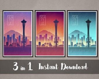 SEATTLE Skyline Instant Download Art Seattle Art Seattle Skyline Seattle skyline Seattle wall art Seattle Skyline print